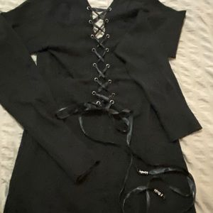 Guess Long Sleeve Sweater Dress Lace up back XL